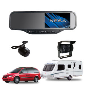 caravan kit with 2 cameras and mirror monitor