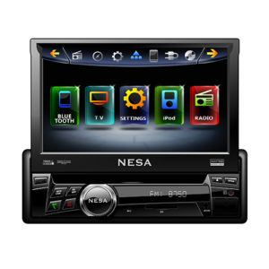 single DIN dvd player with 7 inch motorised screen open