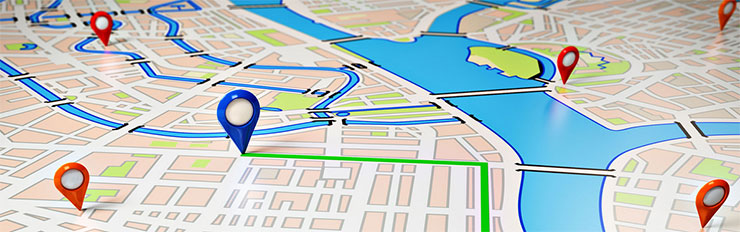 Business GPS trackers route map for fleet vehicles