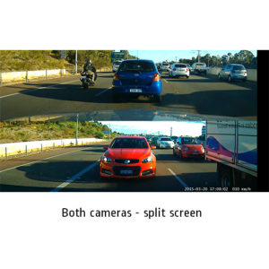 split screen view dual camera dash cam