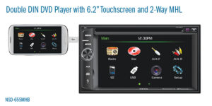 double DIN in dash DVD player with 6.2 inch touchscreen MHL