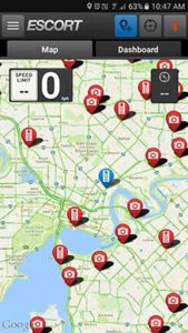 Escort Live mobile app with database of speed camera locations