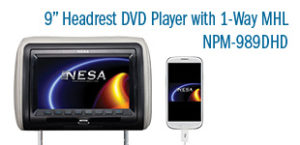 NESA 9 inch monitor and DVD player headrest