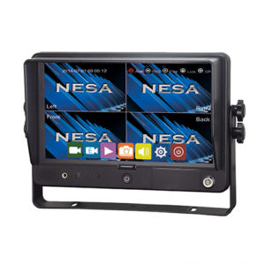 9 inch touchscreen monitor with 4 camera inputs and built in drive recorder