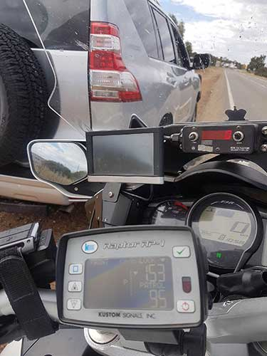 Police rear radar road speed detection